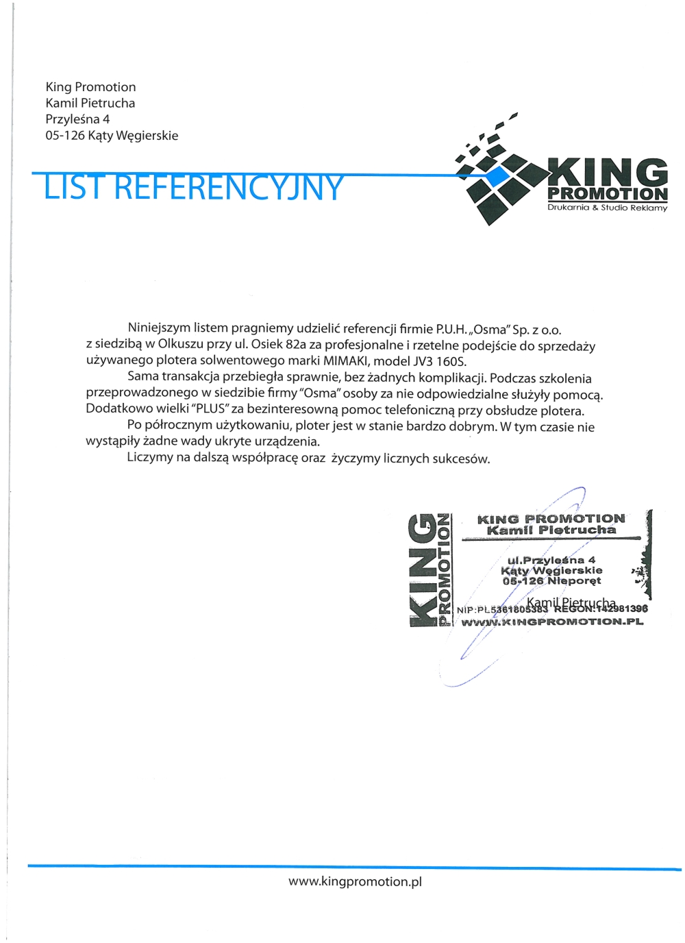 Referencje od  King Promotion